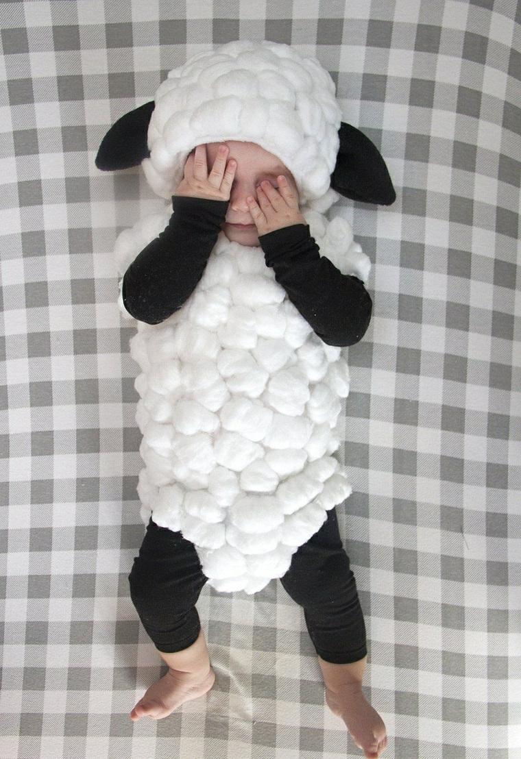 Vestiti carnevale neonato, bimbo con tuta di pecora, bimbo travestito da pecora
