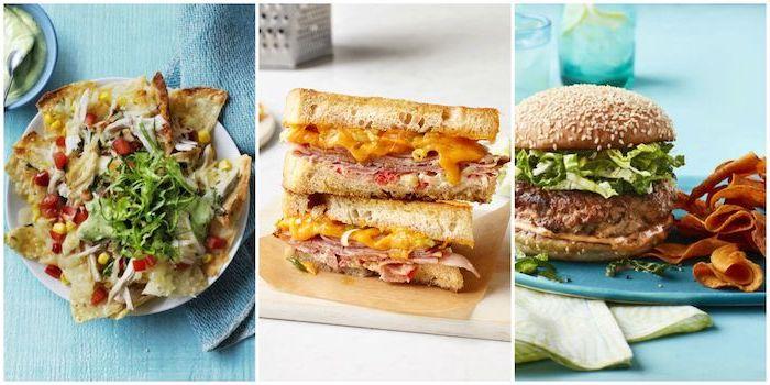 Cena con hamburger, burger con lattuga, toast con formaggio fuso, cena con tortillas