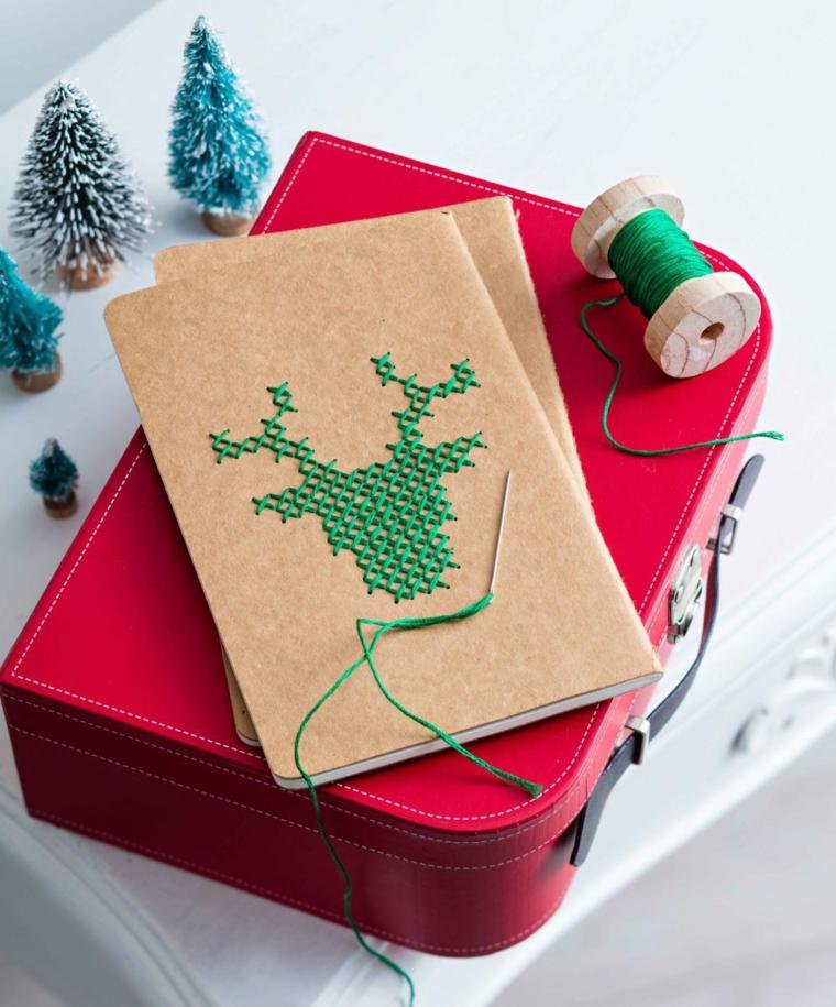 Spago di colore verde, idea regalo natalizio per lei, mini alberelli di natale