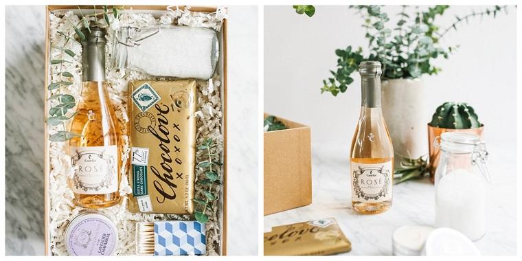 Cosa regalare a Natale per lui, scatola con bottiglia di vino, scatola regalo con cioccolato