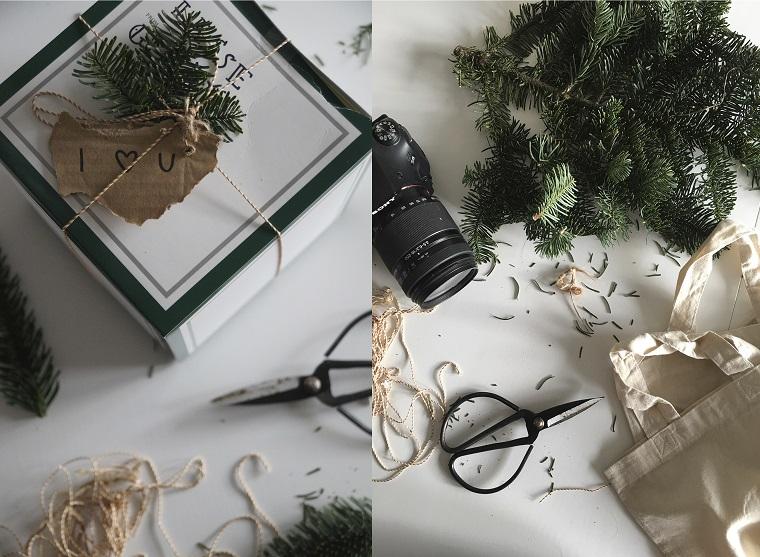 Incartare un regalo, spago e forbici, rametti verdi, bigliettino fai da te, pensierini di Natale