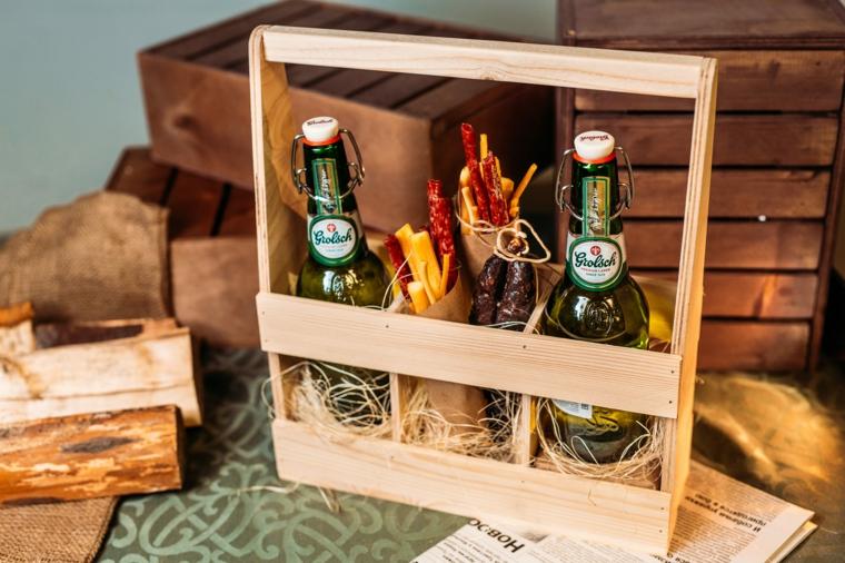 Regalo birre particolari, scatola di legno con stuzzichini, idee regalo fidanzato