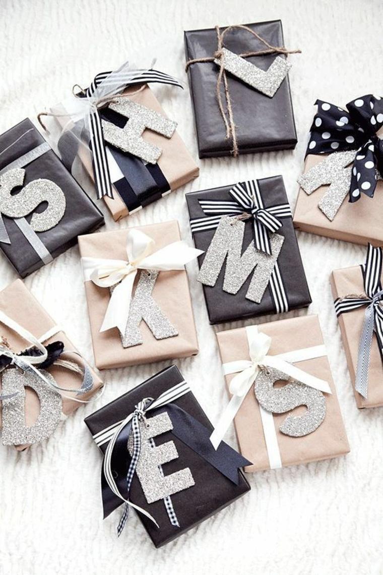 Regali personalizzati con lettere, pacchi regalo di Natale, regalini natalizi