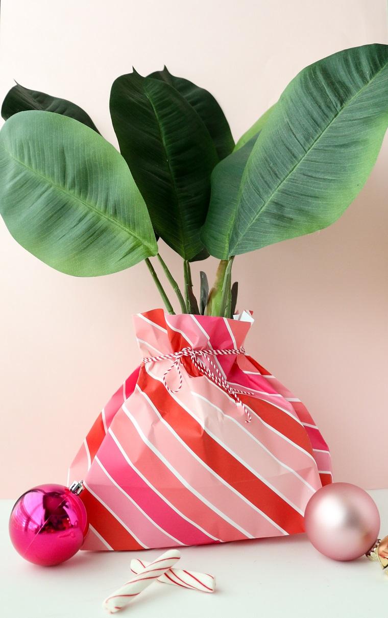 Cosa posso regalare alla mia ragazza, pianta con foglie verdi, palline colorate, sacchettino di carta