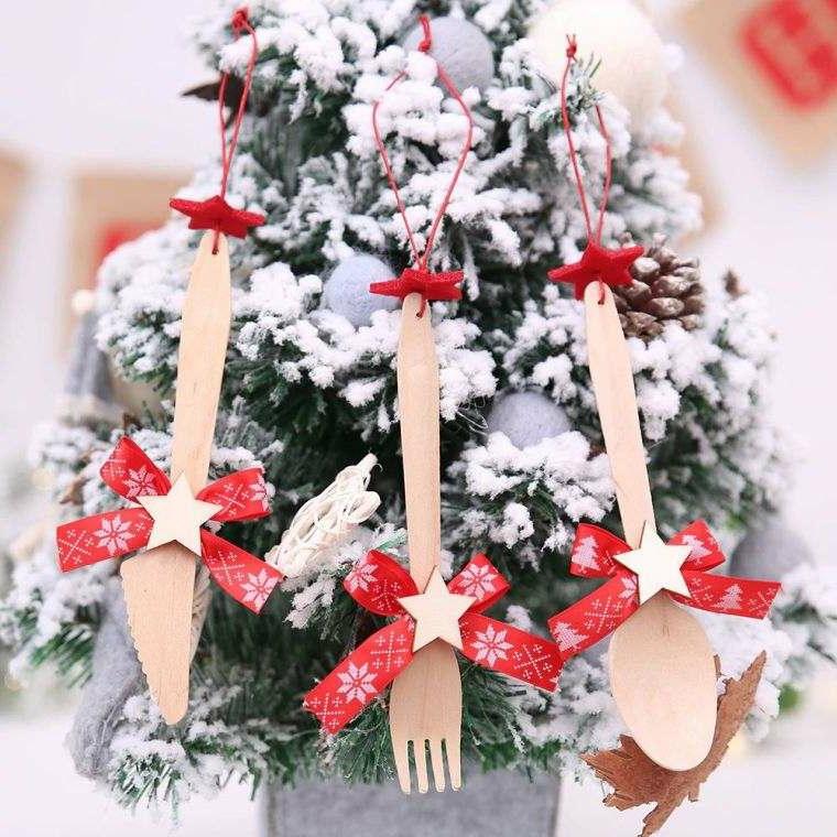 Mestoli di legno, idee regalo natalizi per donna, mini albero di Natale