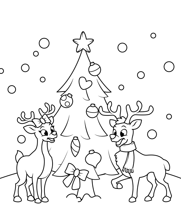 Disegno di renne, schizzo da stampare e colorare, albero di natale con addobbi