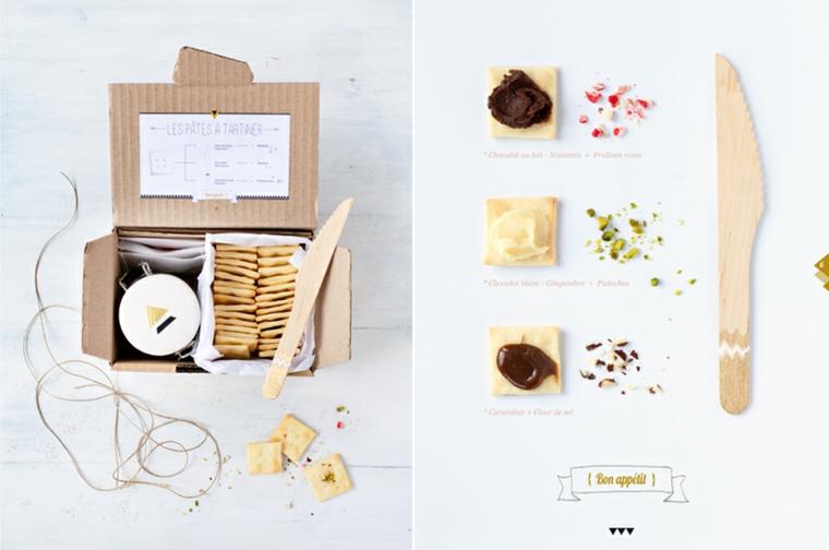 Idee regalo per fidanzata, scatola con cibo, cracker e marmellata, scatola di cartone fai da te
