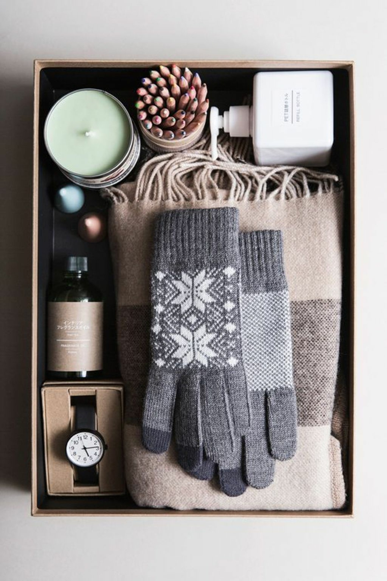 Idea regalo per uomo, scatola regalo per uomo, regali per fidanzato natale, guanti e sciarpa di lana