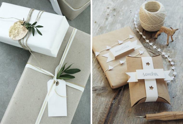 Spago di colore bianco, pacchi regalo incartati, bigliettino con foglie, idea regalo per donna