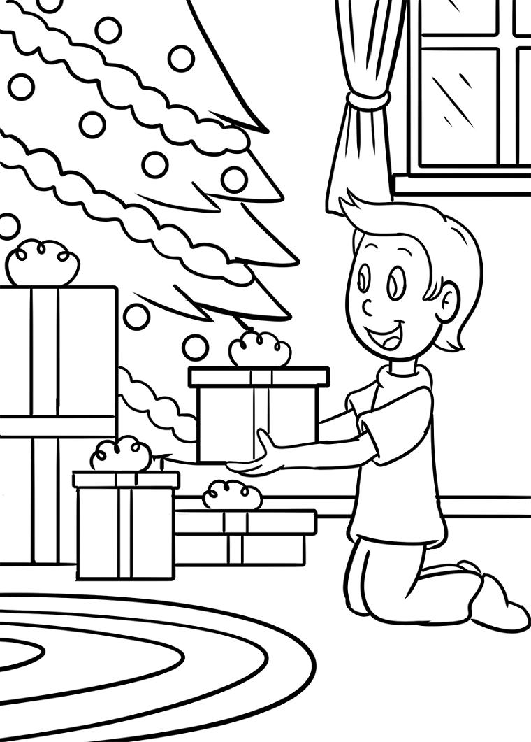 Albero di natale con palline, schizzo di un bambino da colorare, pacchi regalo, disegni da ricopiare facili