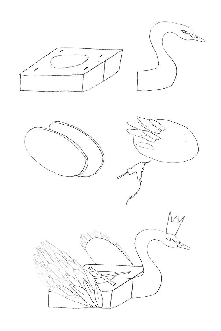 Disegno a matita di un cigno, disegno da ritagliare, costume carnevale improvvisato