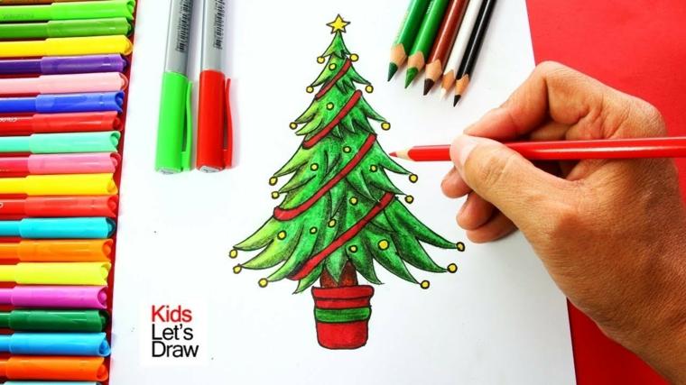 Disegni natalizi da colorare, albero di Natale dipinto di verde, matite colorate