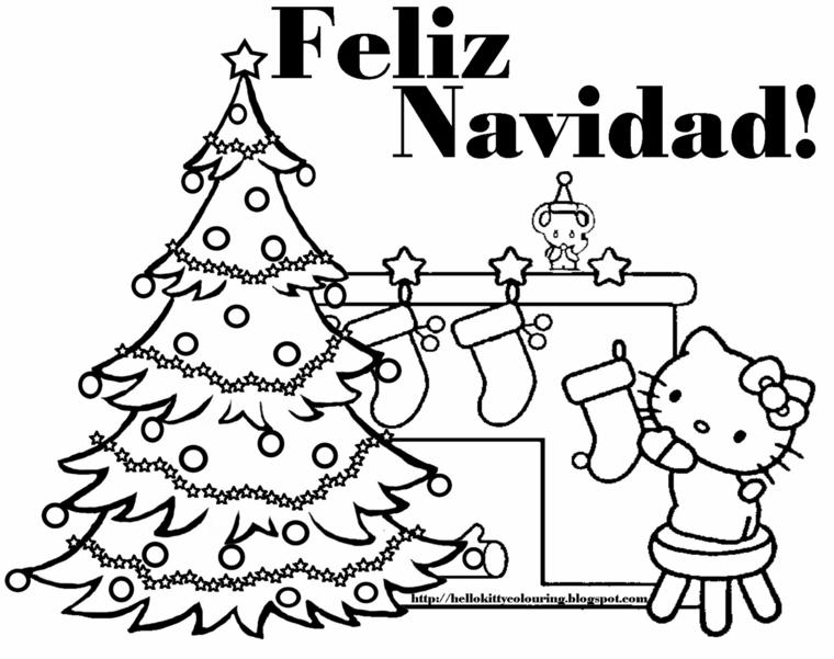 Disegno di Hello Kitty, albero di Natale con palline, albero di Natale da colorare, scritta in spagnolo