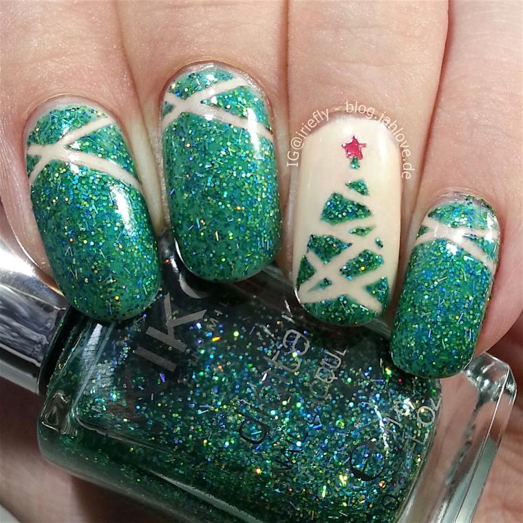 Bottiglietta smalto verde glitter, disegno albero di natale, unghie gel semplici