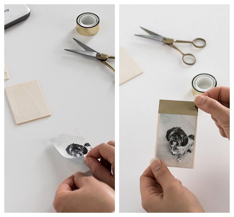 Idee regalo Natale per lei, portafoto fai da te, foto in bianco e nero, foto di un cagnolino