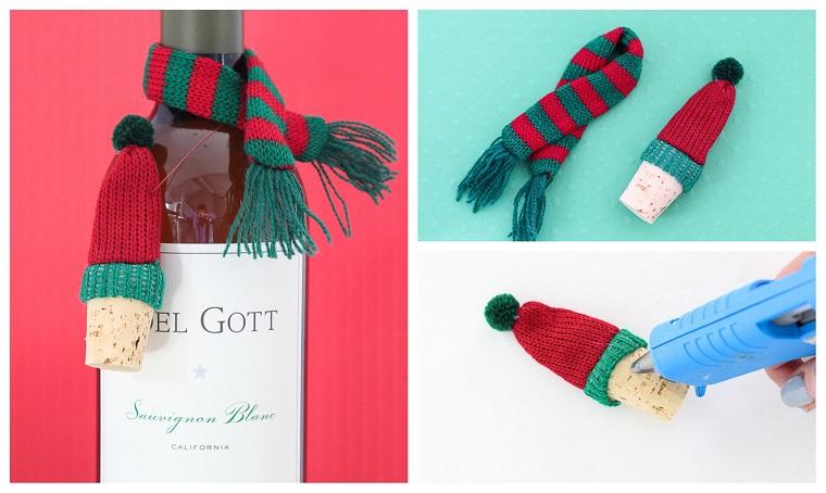 Bottiglia di vino come regalo natalizio, cappuccio e sciarpa natalizia, regali di Natale per lui