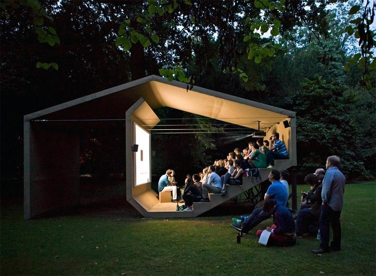 Movie serata con schermo led, noleggio schermo gigante, costruzione di legno