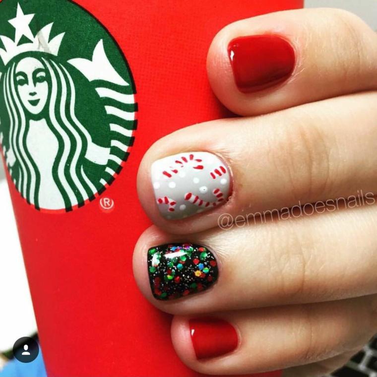Unghie rosse eleganti, smalto di colore rosso, unghie manicure corta, smalto con lustrini