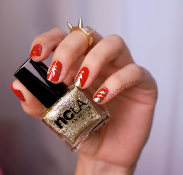 Unghie rosse eleganti, smalto di colore rosso, disegno con smalto oro argento