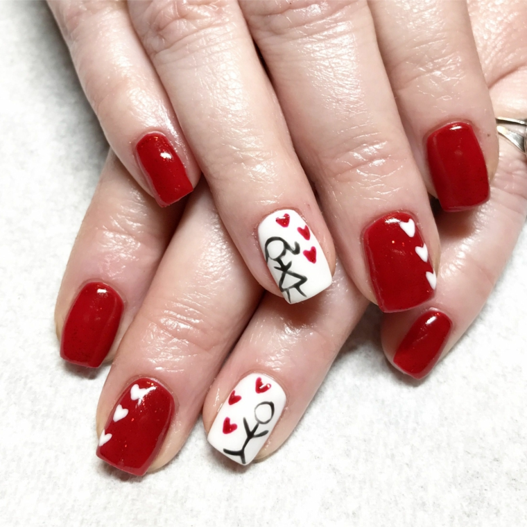 Unghie rosse eleganti, unghie forma quadrata, disegno bimbo e bimba, disegno di cuori