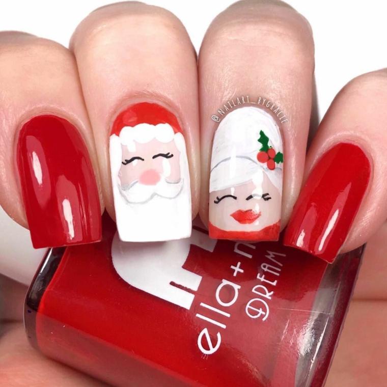 Bottiglietta smalto rosso, disegno babbo natale, unghie forma quadrata, ricostruzione unghie natalizie