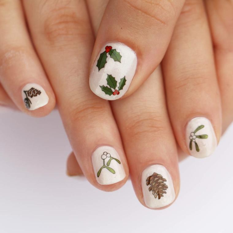Ricostruzione unghie natalizie, disegni di bacche, sticker per unghie disegno pigne