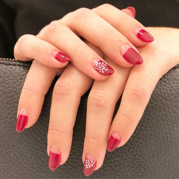 Unghie gel semplici, french manicure inversa, smalto di colore rosso, accent nail con disegno