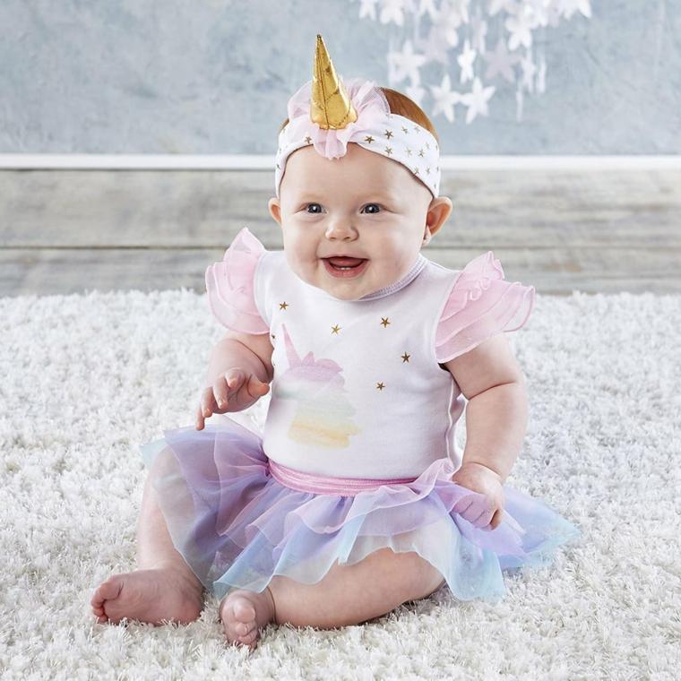 Fascia per capelli unicorno, bimba travestita da unicorno, costume carnevale neonato