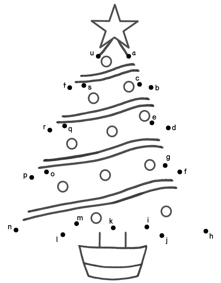Disegno con unire le lettere con i punti, disegno con stella, immagini natalizie da colorare