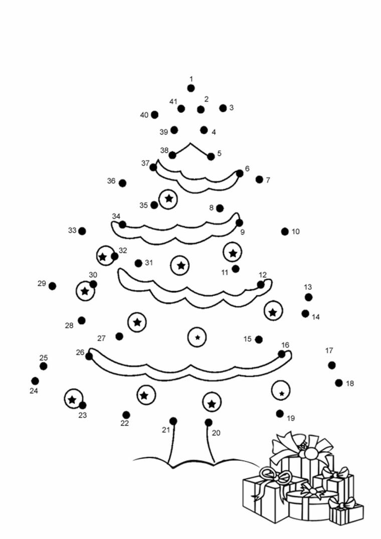 Disegno con unire i numeri, figura di un albero, disegno di pacchi di regalo, disegni natalizi da colorare