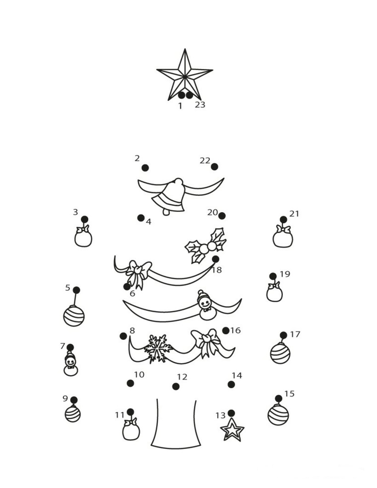 Disegno con unire i numeri, figura di un albero natalizio, albero di Natale da colorare