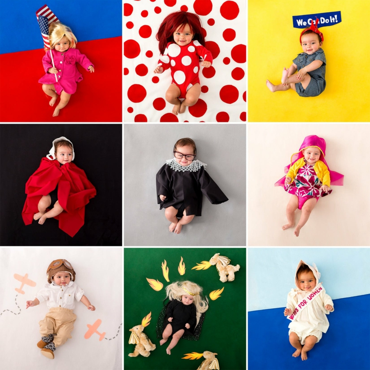 Vestiti carnevale per bambini, bimbi con costumi, collage di foto neonati