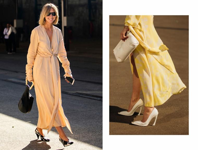 Abito da sera largo, vestito di colore giallo, vestiti lunghi estivi economici, donna che cammina