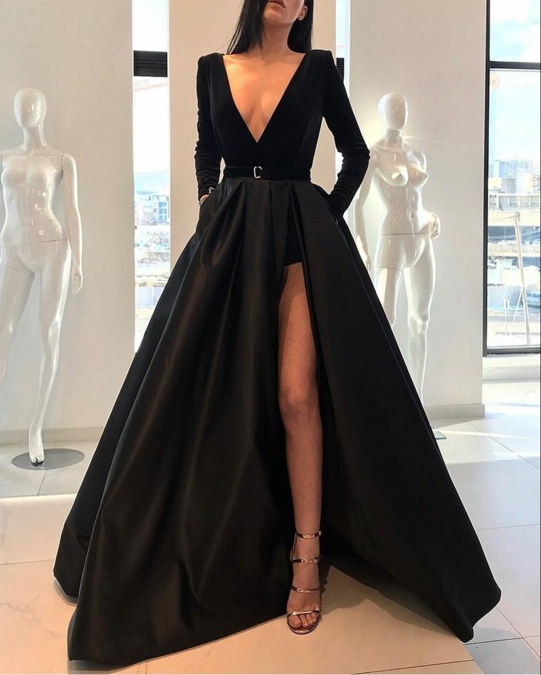 Abiti da cerimonia lunghi economici, abito nero con spacco, vestito stile principessa, scollatura abito profonda