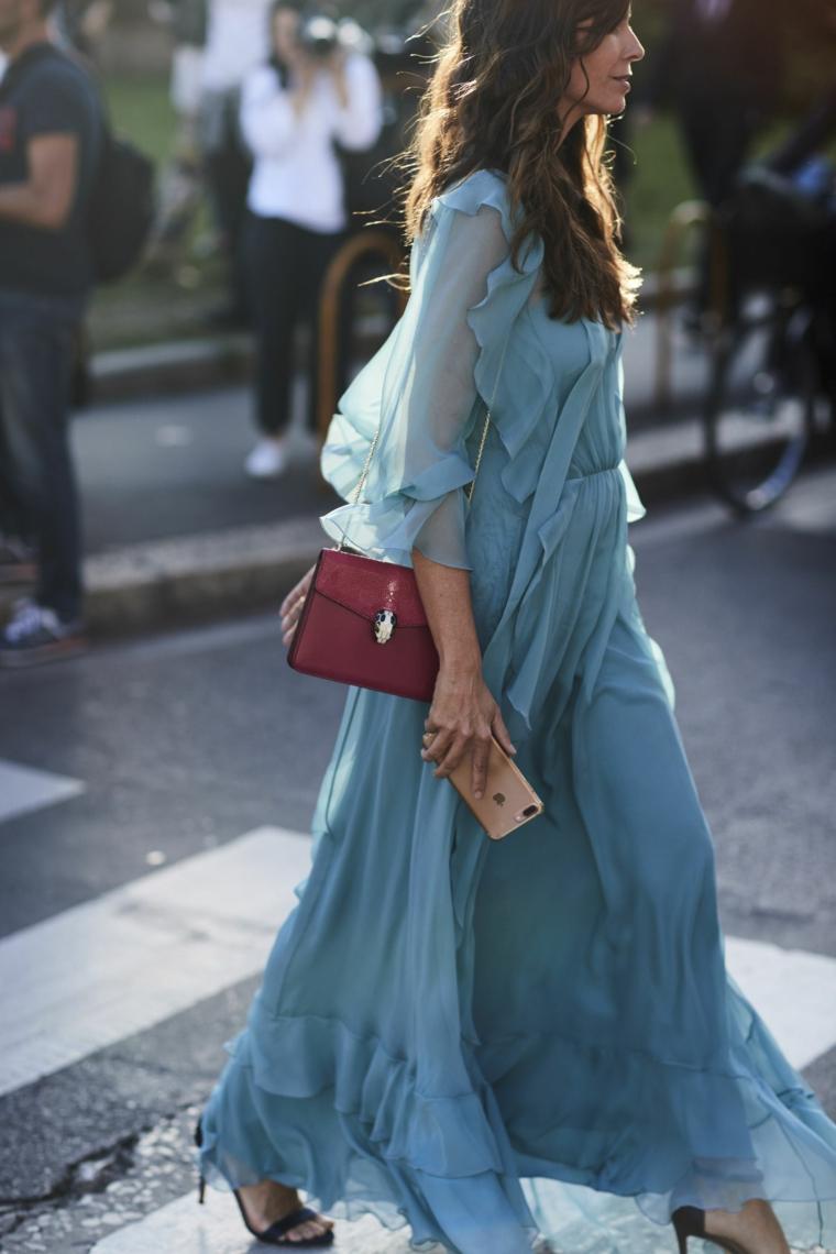 Abiti da cerimonia lunghi economici, vestito di colore turchese, abito con tulle maxi dress