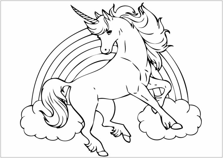 Come disegnare un unicorno, disegno arcobaleno e unicorno da colorare, schizzo a matita