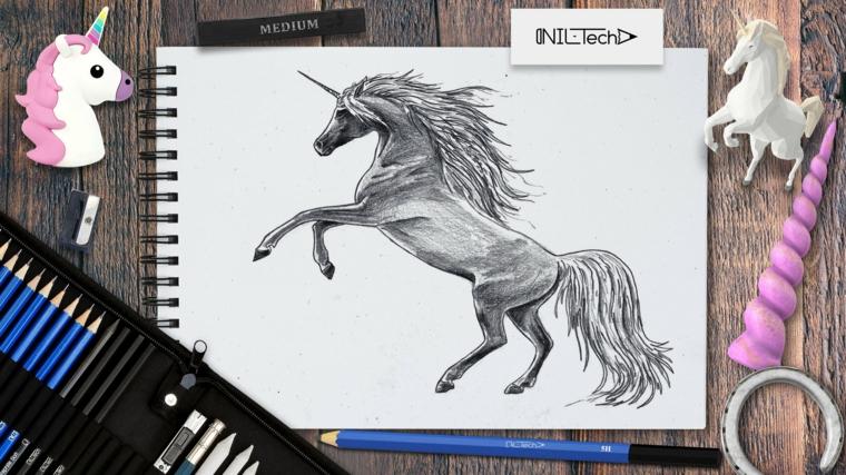 Unicorno significato, disegno a matita di un unicorno, astuccio con le matite
