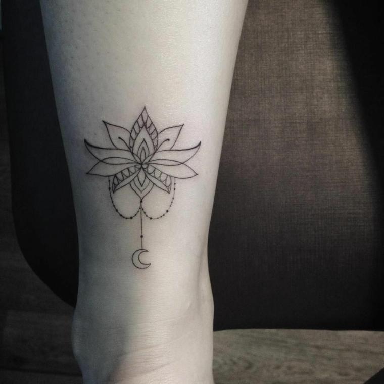 Fiore di loto tatuaggio, tatuaggio sulla caviglia, disegno fiore mandala sulla caviglia