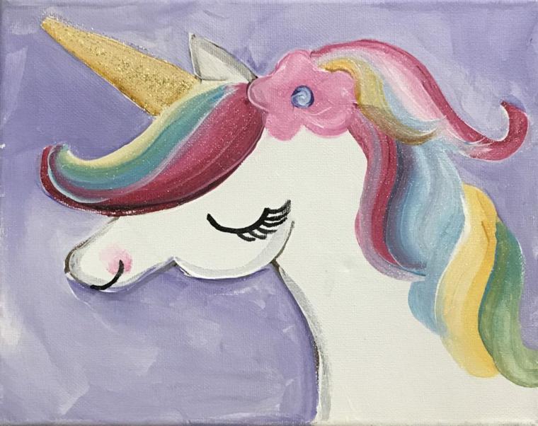 Corno colore oro glitter, disegni facili da colorare, disegno di un unicorno