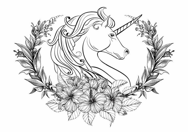 Unicorno significato, disegno di un unicorno, schizzo a matita di fiori e foglie