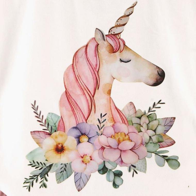 Immagini da disegnare facili, disegno ad acquarelli di un unicorno, corona con fiori