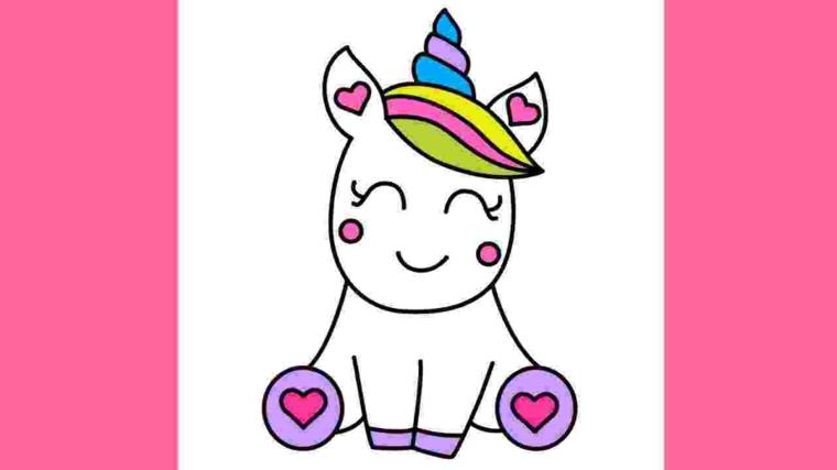 Disegno kawaii di un unicorno, come disegnare un unicorno, sfondo immagine colore rosa