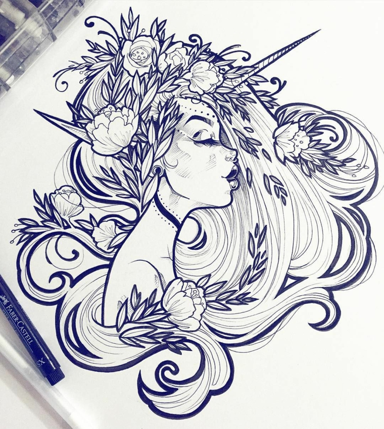 Unicorni da disegnare, disegno di una ragazza unicorno, schizzo a matita di fiori di loto