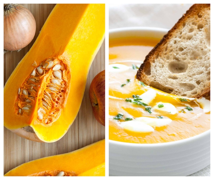 Pezzo di zucca con i semi, ricetta vellutata di zucca, fetta di pane immersa nella zuppa