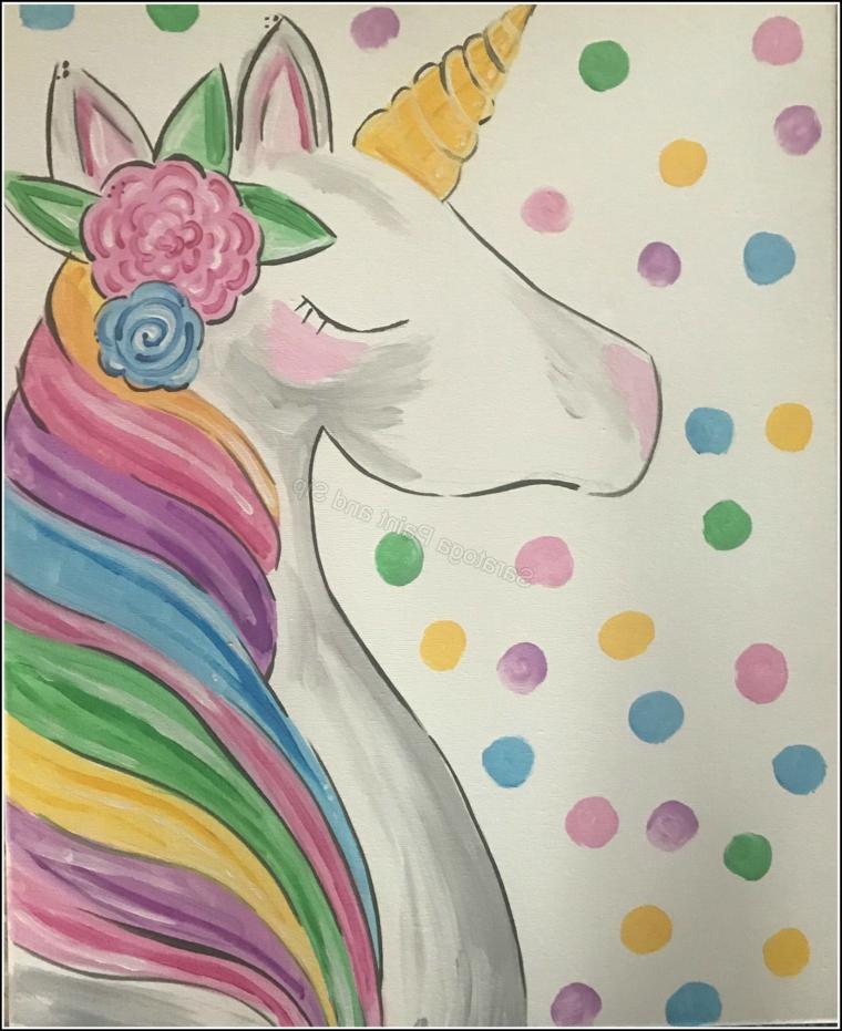 Disegno ad acquarelli, foglio bianco con puntini colorati, immagini unicorni