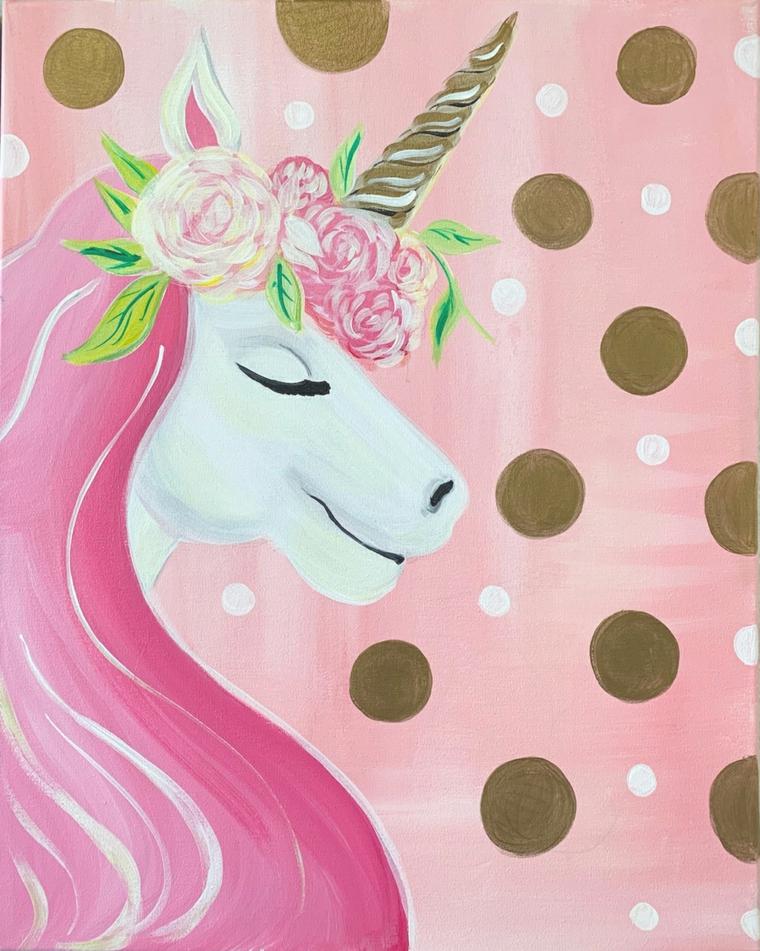 Come disegnare un unicorno, criniera unicorno di colore rosa, puntini colore oro