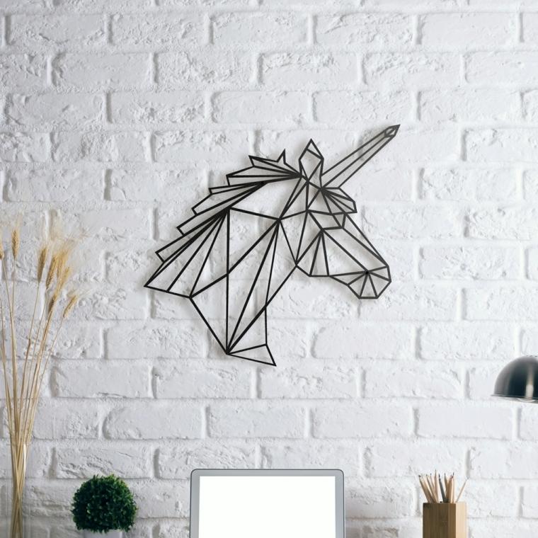 Decorazione da parete, unicorno di metallo per decorare la scrivania, parete con mattoni a vista