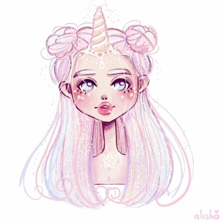 Unicorno disegno, disegno di una ragazza unicorno, disegno con matite rosa e azzurro