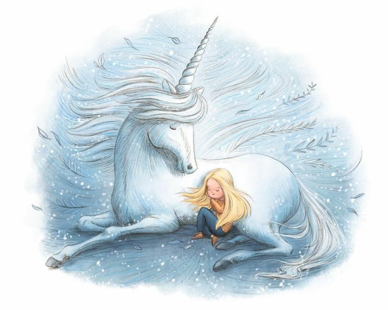 Criniera unicorno mossa, schizzo bambina e unicorno, unicorno significato