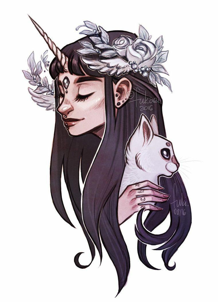 Unicorno significato, disegno di una ragazza elfo unicorno, disegno di un gatto